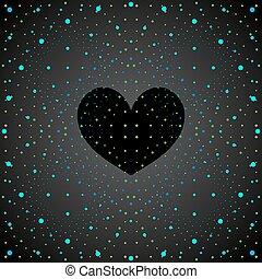 Weltraumschwarzes Herz.