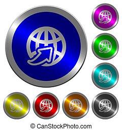 Weltweit leuchtende Münz-ähnliche runde Farbtasten.
