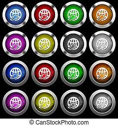 Weltweit weiße Icons in runden Hochglanzknöpfen auf schwarzem Hintergrund