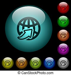 Weltweite Icons in farbig beleuchteten Glasknöpfen