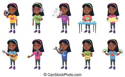wenig, set., vektor, afrikanisch, illustrationen, m�dchen