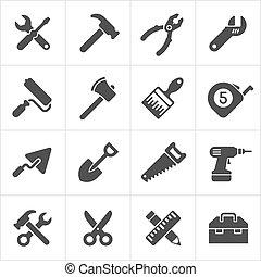 Werkzeug- und Instrumentensymbole weiß. Vector