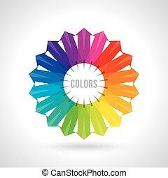 wheel., farbe, abbildung, vektor