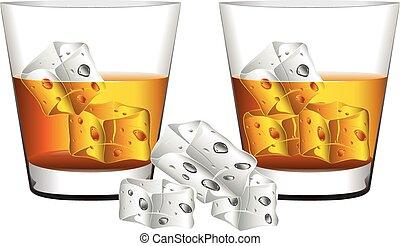 whiskey, glas