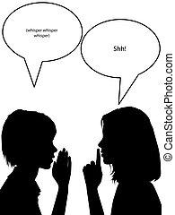 Whisper Shh Silhouette Frauen erzählen Geheimnisse.