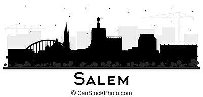white., schwarz, oregon, skyline, stadt, freigestellt, silhouette, gebäude, salem