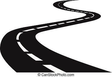 wicklung, highway., road., reise, verkehr, straße, perspective., gebogen, horizont