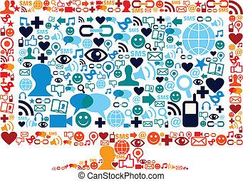 Widescreen-Symbol mit Medien-Ikonen haben die Struktur festgelegt