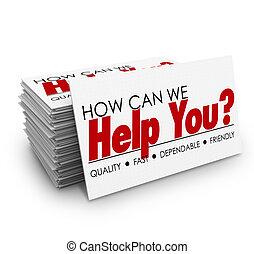 Wie können wir Ihnen helfen, Visitenkarten Kundenservice.
