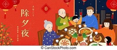 wiedervereinigung, familienabendessen, abbildung