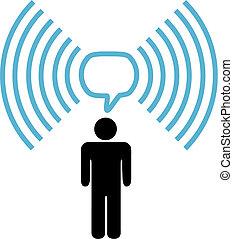 Wifi-Symbol, der Mann spricht über Funk