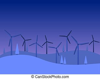 wind, landschaft., twilight., energy., abend, grün, vektor, generatoren, erneuerbar, windmühlen, abbildung, nacht