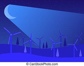 wind, landschaftsbild, energy., grün, vektor, generatoren, erneuerbar, windmühlen, abbildung, moonlight., nacht