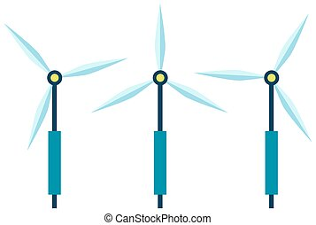 wind, station, ohne, umwelt, abbildung, schaden, produktion, elektrizität, macht, vektor