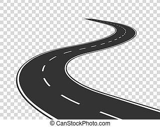 Windstraße. Reiseverkehr gebogene Autobahn. Weg zum Horizont in Perspektive. Winding asphalt leere Linie isoliert Konzept