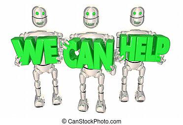 Wir helfen Robotern Service Unterstützung 3D Abbildung.