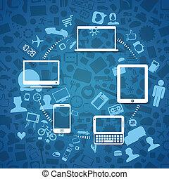 Wireless-Informationen in Verbindung mit modernen Geräten.