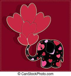 Witziger Elefant mit Herz auf Rot