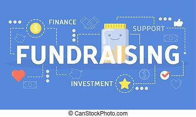 wohltätigkeit, concept., spende, idee, fundraising