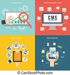 wohnung, begriff, beweglich, marketing, element, design, seo, cms, ikone