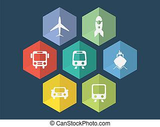 wohnung, format, heiligenbilder, editable, vektor, design, transport