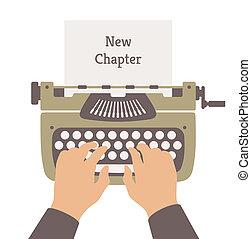 wohnung, geschichte, neu , abbildung, schreibende