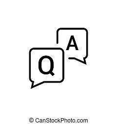 wohnung, icon., vektor, frequently, frage, informationen, design, vortrag halten , faq, symbol, frage, hilfe