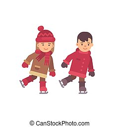 wohnung, kinder, winter, zwei, eis, skating., abbildung