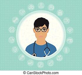 wohnung, kleid, doktor, medizin, icons., vektor, design, abbildung, feundliches , brille