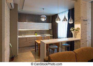 wohnung, modern, luxus, inneneinrichtung, neues heim, kueche