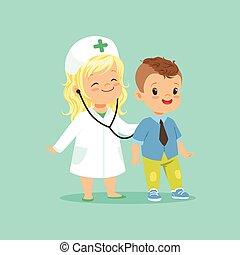 wohnung, patient, sie, untersuchen, game., doktor, zwei, abbildung, bruder, vektor, stethoskop, babys, töchterchen, bezaubernd, spielende