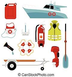 wohnung, satz, motorboote, einsparung, ausrüstung, isolated., vektor, abbildung, leben