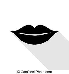 wohnung, stil, illustration., zeichen, lippen, schwarz, schatten, path., ikone