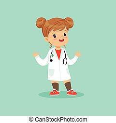 wohnung, ungefähr, sie, doktor, mantel, medizin, weißes, abbildung, heiter, vektor, stethoskop, baby, rolle, m�dchen, spielende , hals