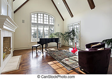 Wohnzimmer mit Holzdeckelstrahlen