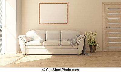 wohnzimmer, moderner zeitgenosse, inneneinrichtung, 3d, möbel