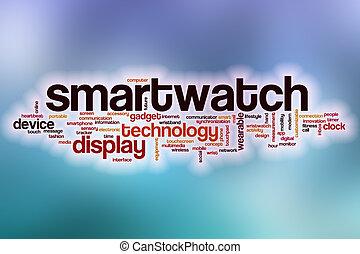 wolke, abstrakt, wort, hintergrund, smartwatch