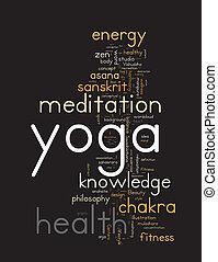 wolke, begriff, wort, illustration., yoga.