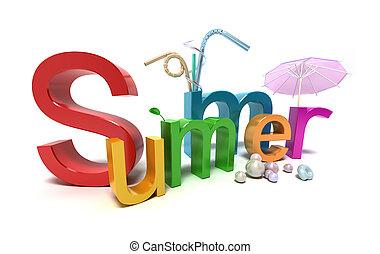 Word Sommer mit bunten Buchstaben auf weiß.