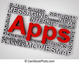 wort, aus, apps, hintergrund, weiße wolke