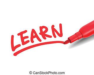 wort, rotes , markierung, lernen