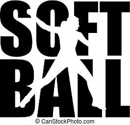 wort, silhouette, softball, freisteller