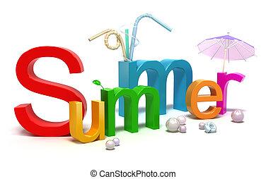 Wort Sommer mit bunten Buchstaben