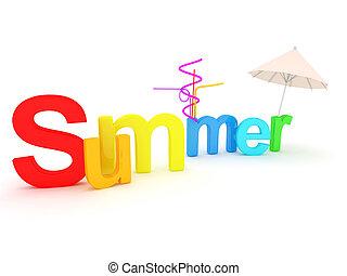 Wort Sommer mit bunten Buchstaben.