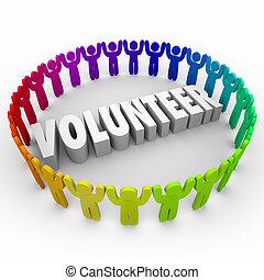 wort, ungefähr, leute, 3d, zeit, ring, spenden, freiwilliger