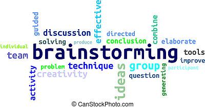 wort, -, wolke, brainstorming