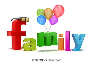 Wortfamilie mit bunten Buchstaben.