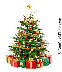 Wunderschöner Weihnachtsbaum mit Geschenkdosen.