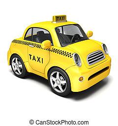Yellow Cartoon Taxi.