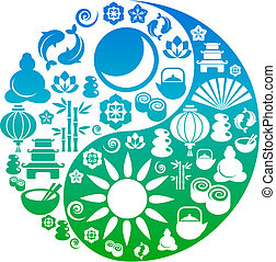 Yin-Yang-Symbol aus Zen-Ikonen